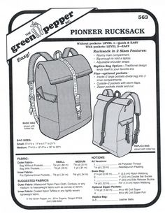 Pioneer Rucksack Sewing Pattern