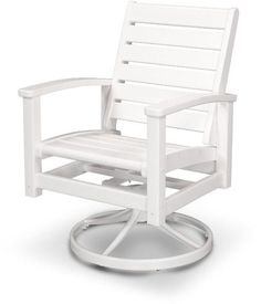 Polywood 1930-13WH Signature Swivel Rocker Chair Satin White / White Finish