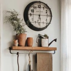 Tailored Haven Caged Clock - Mary Beth of The Tailored Haven has been lovin' on this fabulous farmhouse industrial wall clock. Can you blame her? Rustic Look - Painted Fox Home Farmhouse Clocks, Farmhouse Chandelier, Farmhouse Decor, Industrial Shelving, Industrial Style, Industrial Metal, Painted Fox Home, Clock Painting, Kitchen Clocks