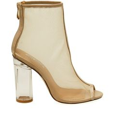 Benny-2 Nude Mesh Peep Toe Clear Chunky Heel Booties ($56) ❤ liked on Polyvore featuring shoes, peeptoe shoes, peep toe shoes, chunky heel shoes, nude footwear and peep-toe shoes