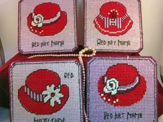 SALE  Coasters  Red Hat  set of 4  by MissLadyBugCrochet on Etsy, $12.00