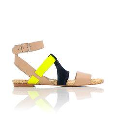 Neon detail sandals