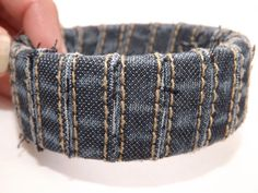 Upcycled Denim Bangle Bracelet