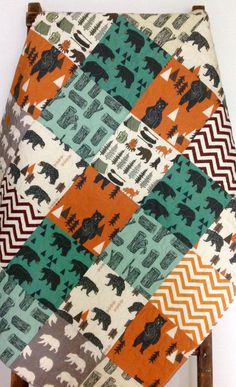 Adorable gender neutral baby quilt - bear - fox - chevron - modern - rustic - woodland - camping - blanket - baby crib or nursery quilt. This adorable