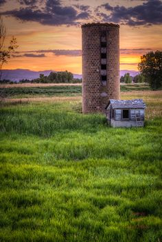 Scott Wilson Images, LLC | Landscapes - Silo against setting sun behind the Rocky Mountains - Fort Collins, Colorado