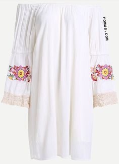 White Crochet Trim Embroidered Off The Shoulder Dress