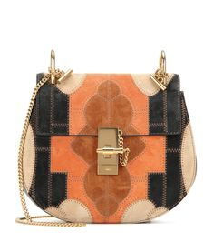 Chloé Drew Small Flower Patchwork Leather and Suede Shoulder Bag