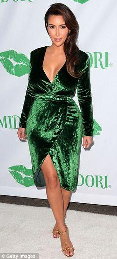 Green velvet wrap dress x.