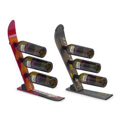 10 Clever Examples of Recycled Wine Racks .skis turned into wine racks.I have one and it is a conversation piece. Cool Wine Racks, Unique Wine Racks, Modern Wine Rack, Bottle Rack, Wine Bottle Holders, Bottle Opener, Bottle Display, Wine Display, Ski Decor