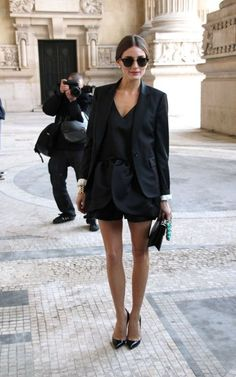 Pieces to invest -  black blazer, black tank top, black shorts.