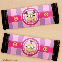 FREE Printable Girl Minion Candy Bar Wrappers