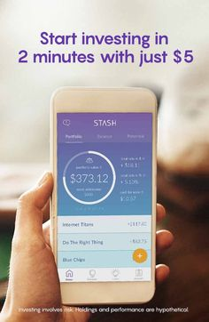 Stash is an easier way to save and invest. Get started today. See stashinvest.com for more information.