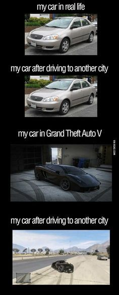 My car Reality vs. GTA V - Video Games - Ideas of Video Games - reality vs GTA V. haha glad i'm not the only one Video Game Logic, Video Games Funny, Funny Games, Gta 5, Gamer Humor, Gaming Memes, Gta Logic, Best Funny Pictures, Funny Photos