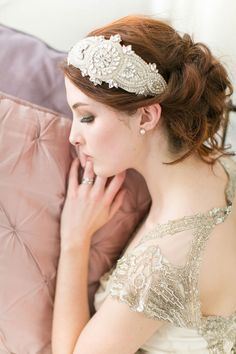 Victoria Millésime art deco bridal accessories - treasured heirloom inspired headpieces for modern day brides.