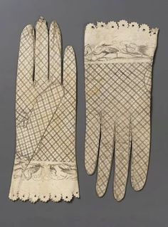 Pair of women's printed kid gloves, 1800-25 MFA