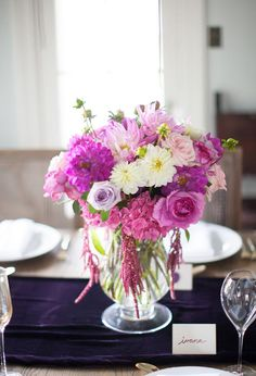 purple and pink floral centerpiece