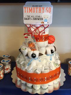 All-star basketball themed baby shower // Diaper cake with customized basketball goal topper