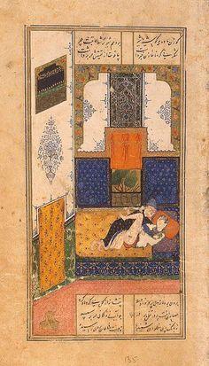 Miniatures, Gouache, 23.7x13.7 cm. Origin: Iran, 1431-1431, Timurid Dynasty. Album: The Khamsa by Nizami. Personage: Khusraw. Source of entry: Museum of the Stieglitz School, 1924. School: Herat. Theme: Literature.