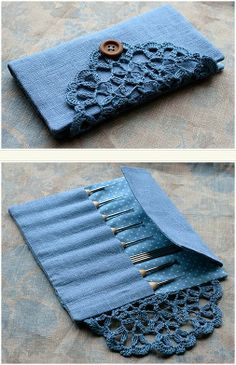 DIY -  what a lovely crochet hook holder...love the lace doily as a closure!  {no tutorial}