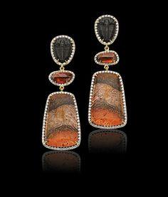 Pamela Huizenga Fossil Trilobites Zircon and Diamond Earrings