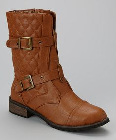 Another great find on #zulily! Cognac Quilted Double Buckle Boot by Bucco #zulilyfinds 21.99