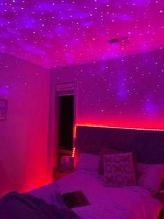 Galaxy Bedroom, Neon Bedroom, Purple Bedrooms, Bedroom Setup, Teen Girl Bedrooms, Room Ideas Bedroom, Bedroom Lighting, Teen Rooms, Bedroom Ideas Purple