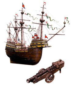 """The Henri Grace a Dieu, 1525 - Participated in the battle off Portsmouth, 1545"""