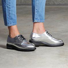 7 Dials Shoes Devi Silver Metallic Oxford