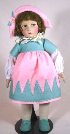 Antique Vintage Raynal Felt Cloth Lenci Type Doll Beautiful Coloring | eBay