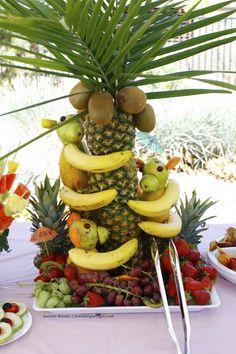 Coconut Palm Tree + Banana Monkeys!  Birthday Bananaza Fruitluck: Heathy Raw Vegan Party Ideas!