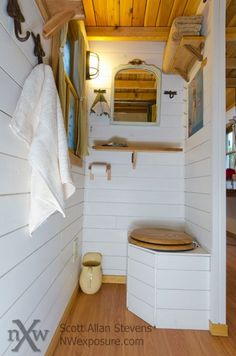 Three composting toilets in separate stalls with curtains Grand Chalet, Glamping, Tumbleweed Tiny Homes, Outdoor Toilet, Tiny Houses For Rent, Outdoor Bathrooms, Composting Toilet, Tiny House Bathroom, Tiny House Movement