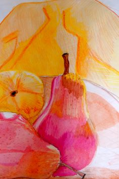 Pear Watercolor still life