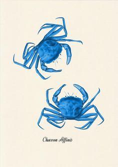 Bathroom Wall decor Blue Crabs sea life print por seasideprints