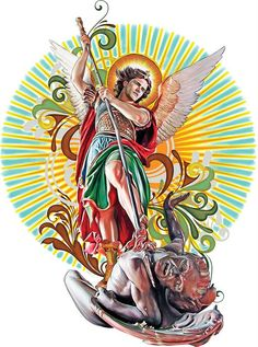 Saint Michael the Archangel, illustration on Wacom Gallery St. Michael Tattoo, Archangel Michael Tattoo, Catholic Art, Religious Art, Kreis Tattoo, St Micheal, Bible Tattoos, Kunst Online, Angel Warrior