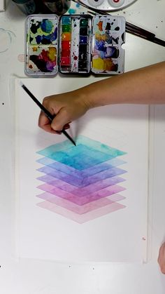 Transparent Watercolor - Get 16 free watercolor painting templates with some cool geometric designs! Effective pictures we p - Watercolor Art Lessons, Watercolor Paintings For Beginners, Watercolor Painting Tutorials, Watercolor Video, Watercolor Lettering, Watercolor Trees, Watercolor Design, Geometric Art, Geometric Designs