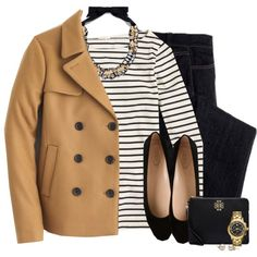 J.crew peacoat, statement necklace & striped top