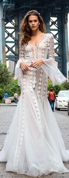 solo merav 2018 bridal long lantern sleeves v neck full embellishment bohemian mermaid wedding dress open back medium train (5) mv -- Solo Merav 2018 Wedding Dresses