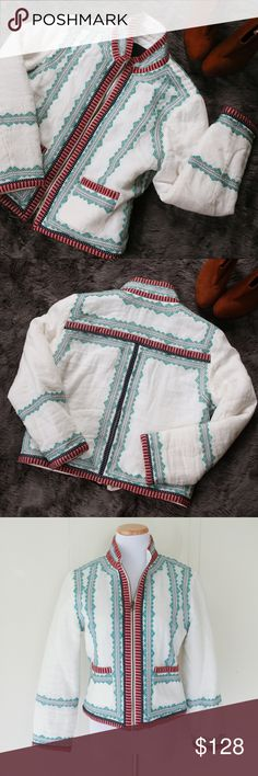 RARE J. Crew Collection Embroidered Linen Jacket RARE limited edition J.Crew embroidered jacket made with linen. SO BEAUTIFUL and part of a limited edition collection. Completely flawless worn only once. Every detail is perfect. MUST have for fall!! J. Crew Jackets & Coats