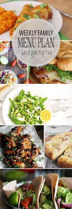 Weekly Family Menu Plan - 5 weeknight dinners, a weekend breakfast, and a yummy dessert!