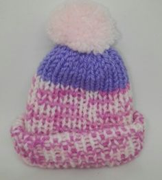 ff790f3d888 PINK LILAC HANDMADE KNITTED PREMATURE BABY HAT REBORN DOLL TINY BOBBLE  Baby