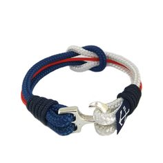 White, Blue, Red and Black Nautical Bracelet by Bran Marion