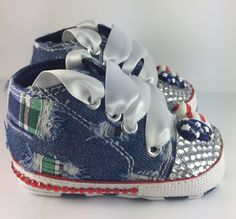 Customised Baby Boy Blue Denim Mickey Mouse Style Crib Shoes by HuggyWuggys on Etsy