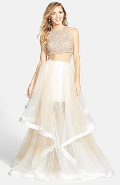 Free shipping and returns on Terani Couture Beaded Top & Organza Two-Piece Ballgown at Nordstrom.com.