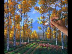 Peindre Forêt Peupliers Leçon Complete Acrylique Toile Automne Arbres Bu...