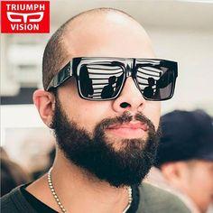 e49e3800dab2 TRIUMPH VISION Black Flat Top Men Sunglasses Oversized Big Frame Square  Oculos Masculino Summer Cool Fashion