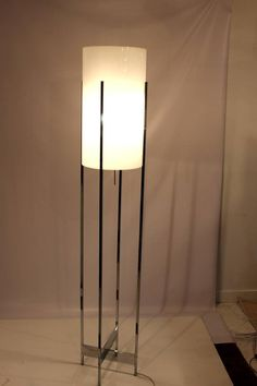 Chrome Base Floor Lamp with Lucite Cylinder Shade by Habitat 'Six Light Sockets' 6