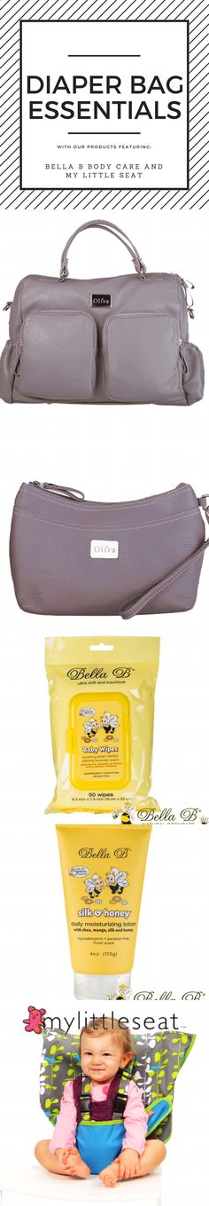 A diaper bag is an important part of life for moms with young children. Use Oliva Moda for a stylish diaper bag that acts as a handbag or a laptop bag (wristlet included with each order), Bella B's Baby Wipes and Moisturizing Lotion, and a My Little Seat (never need to bring bulky high chairs again).
