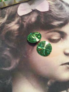Vintage Swarovski 16mm Peridot Rivoli Crystal 8215PER x2 by dimestoreemporium on Etsy