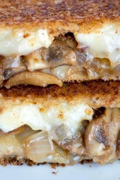 This sandwich has it all: tart balsamic vinegar that caramelizes the mushrooms and onions, oozing brie cheese and crusty, crunchy bread. This unique twist on a classic sandwich is perfect for grilled cheese lovers of all ages. Recipe courtesy of Bits and Bites Sandwich Bar, Brie Cheese Recipes, Balsamic Mushrooms, Mushroom And Onions, Buffet, Baked Brie, Brunch Recipes, Burger Recipes, Caramelized Onions