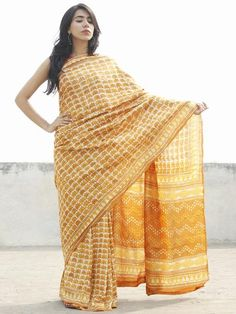 Tussar Handloom Silk Hand Block Printed Saree in Mustard Yellow & Beige  - S031702566  #saree #Buysaree #Onlinesaree #Newsaree #Buyonlinesaree #Shopsaree #Cottonsaree #blockprint #sarees #womensaree #longsaree #ladiessaree #naturaldye #traditionalart #ethnic #fushionsaree #fashion #style #tyeanddye #New #tussar #tussarsilk